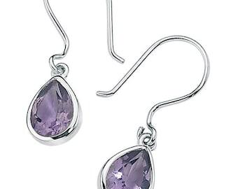 Silver Amethyst Teardrop Earrings