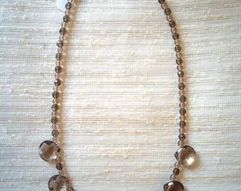 Smoky topaz droplet necklace