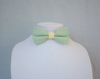 bow tie for men green and yellow pastel - gift for him - Wedding