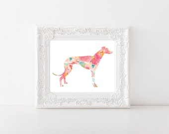Greyhound Watercolor - 8x10 print, 16x20 - Dog Watercolor Art Print - DIY Printable - nursery decor, preppy wall art, greyhound dog portrait
