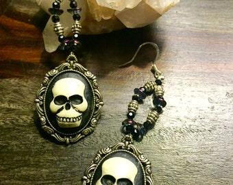 Big Faced Skull Cameo Earrings