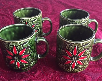 Enesco Poinsettia Mugs - Set of 4 - Made in Japan