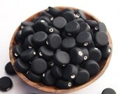 50 Opaque Sea Glass Flat Disc Beads Frosted Matte Finish Colour Black Size 7 x 3mm