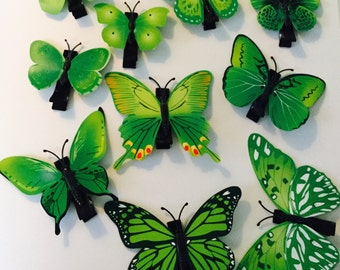 Green Butterfly Hair Clips