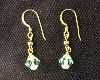 14K Gold earrings with blue Swarovski Crystal
