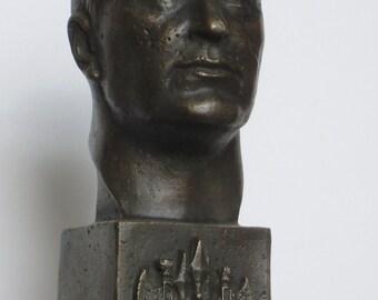 Benito Mussolini. Bronze portrait. FREE SHIPPING