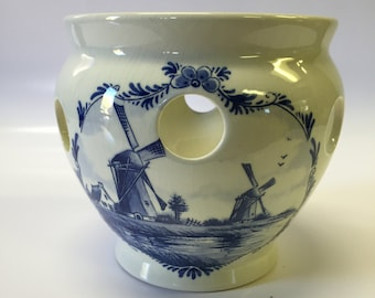 Vintage delft Holland Hand Painted Crocus pot