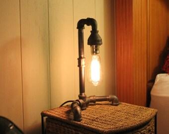 Edison Bulb Desk Lamp - 45 Degree - Industrial Pipe Lamp - Urban Style Steampunk Lamp - Rustic Charm