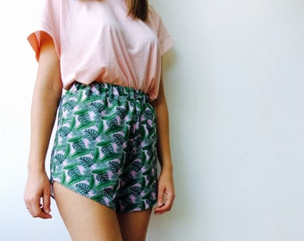 SUMMER SALES Tropical leafs shorts,Pineapple shorts, high waisted shorts, summer shorts, vintage shorts, funky shorts, pineapple pattern