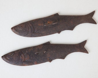 Unique Vintage Antique Cast Iron Fish - Set of 2