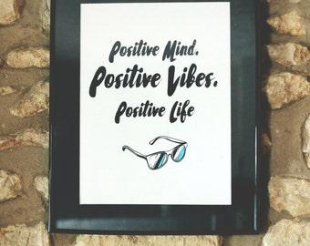 Positivity Typography Poster - Positive mind, Positive vibes, Positive Life.