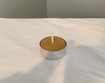 Pure Beeswax Tealight Candle - Unscented - Metal