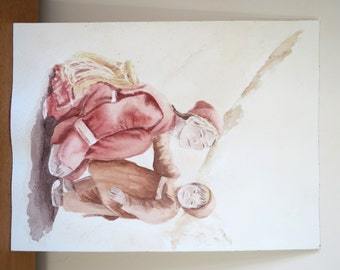 Watercolor painting of a mongolian mother and her child