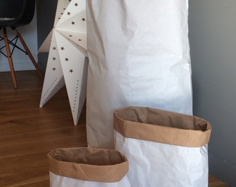 Set of 5 medium size Kraft paper bags for decoration, to customize to roll up, use anywhere!  X L32cm x H50cm background 14cm