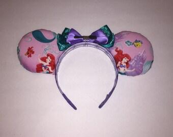 Disney's The Little Mermaid inspired Ariel ears. Handmade custom Disney ears