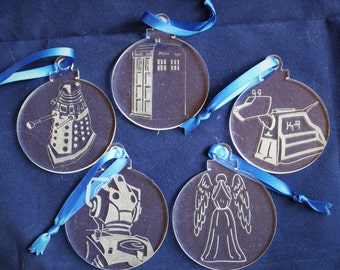 Dr Who Hand Engraved Christmas Decorations - Set of 5 Ornaments Tardis, K9, Dalek, Cyberman, Weeping Angel, Whovian, Time Lord