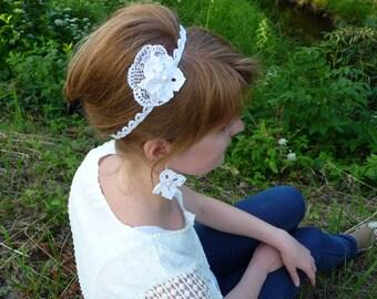 Wedding headband bridal headband white headband flower headband crochet headband flapper headpiece cotton headband textile headband