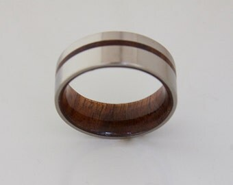 Titanium and Hawaiian Koa Rings // Mens Wood Rings //wood Wedding Band //Men's wedding Band //metal wood jewelry