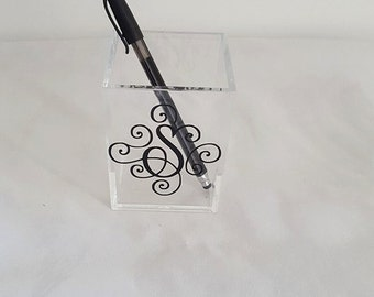Monogram Gift, acrylic pencil holder, Monogram pencil holder, Personalized Gift, office gift, desk accessory, bosses day gift, secretary