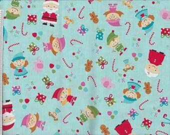 Santa's Workshop  -1 yd - Riley Blake -  Elves and Toys on Blue