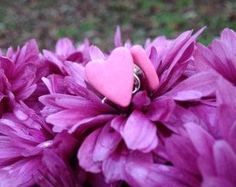 Pink Heart Clay Earrings