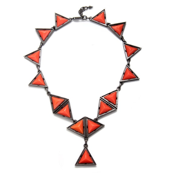 Bold Triangle Y Style Necklace in Steel Tone