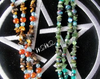 Three String Bead & Crystal Bracelet