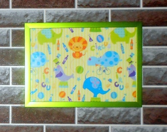 wall decor, wall picture, kids room decor circus print in frame circus