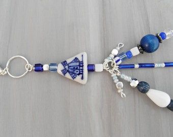 Delft Blue Charm, Delft Blue Keychain, Delft blue decoration, Holland keychain, windmill charm, dutch charm, keychain, charm, white, blue