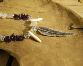 Necklace, necklace, shaman, shaman, druidic, druidism, feather, feather, crystals, crystal, stone, stones, ametyst, natural