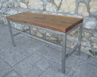 Handcrafted Black Walnut and Steel Bench - Industrial Modern
