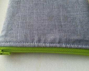 small grey pouch, green zipper pouch, coin purse, school supplies, organizational pouch, cute pouch, small zipper bag