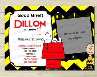 Charlie Brown Birthday Invitations, 5x7 ,Printed or Digital File ***FREE SHIPPING