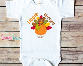 Little Turkey Shirt Baby Thanksgiving Shirt Boy  Personalized Shirt Girl