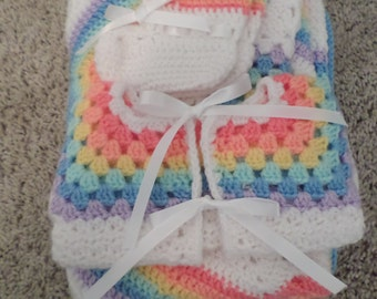 Baby blanket, booties, jacket