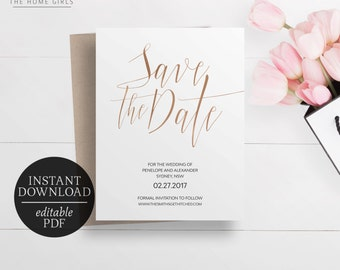 Save The Date Rose Gold Foil Printable | Editable Template | Faux Foil | Instant Download | Rose Gold Save the Date | Template | Penelope