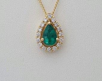 Emerald necklace,gold emerald and diamond necklace,halo necklace