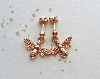 Rose Gold Bee Earrings Bee Charm Jewellery Bridal Gift Bee Jewelry