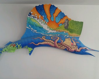 Extra,large,wall,art,fiberglass,Sailfish,sunset,sculpture,beach,theme,tiki,Fishing Art Fisherman Fish Mount marlin