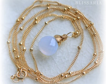 Turkish Chalcedony Necklace, Blue Chalcedony Pendant in Gold, Long Layering Necklace, Handmade Gemstone Necklace, Gift for Her by Blissaria