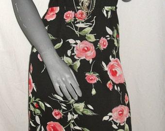 Elementz Vtg 90s Garden Cabbage Rose Multi-Color Maxi Skirt Sz M