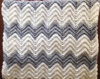 Chevron Blanket, Baby Blanket, Gray and White Blanket, Gender Neutral Bedding, Toddler Blanket, Baby Shower Gift, Nursery Blanket, Afghan