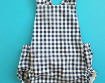 Baby girls romper// playsuit // navy gingham // tie-back // country baby // baby gift // baby shower // NEW DESIGN with snap crotch.