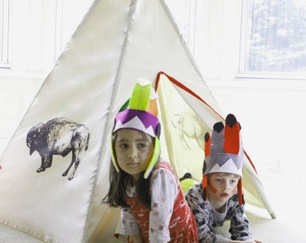 Kids natural canvas teepee with screen printed bison