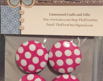 Fabric Covered Button Magnets - Pink with White Polka Dots