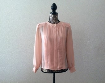 1980s Blouse, Vintage Formal Wear, 80s Pink Top