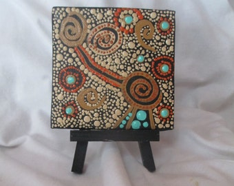 Dot painting, Aboriginal inspired Art, painting, original mini 4 x 4 canvas, Dot Art, acrylic,small Art with easel, snake wateringhole #127