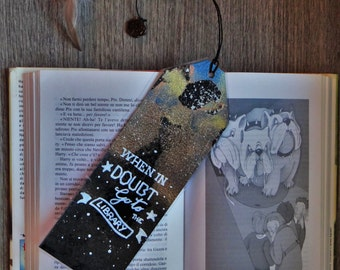 HP bookmarks. Harry Potter Hermione Granger, Ron Weasley quote Wood, pearls and feathers starry sky.
