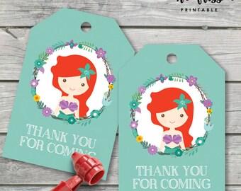 Princess Ariel Thank You Tag | Favour Tag | Instant Download | PDF | JPG
