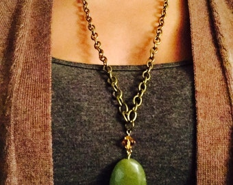Green Gem Stone Swarovski Crystal Necklace